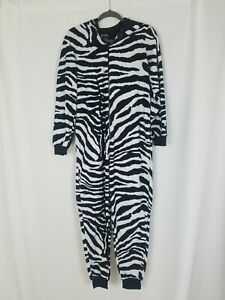 Nick & Nora women s zebra animal print pajamas one piece zip up pockets
