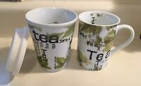 Lot Of 2! Konitz Travel Mug & Coffee Cup Tea Collage Green Leaves White