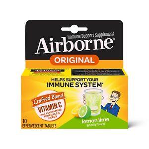 Airborne Vitamin C Immune Support Effervescent Tablets, Lemon Lime - 10 ct