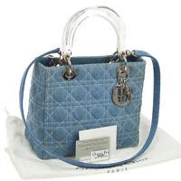 Auth Christian Dior Lady Dior Cannage 2way Hand Bag Blue Denim Italy VTG N20319
