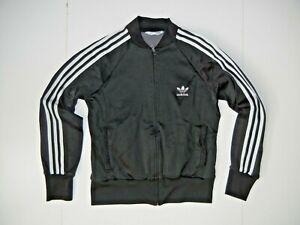 ADIDAS Black/White Classic TRACK JACKET Athletic Gym Soccer Zip Coat Women's L