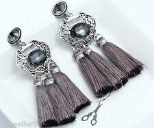 Drop Dangle Stud long Earrings 235 1 Pair Elegant Gray Crystal Rhinestone Ear