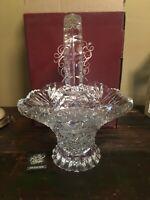 Hofbauer Byrdes Collection Large Crystal Etched Bird Handled BasketGerman w/Box