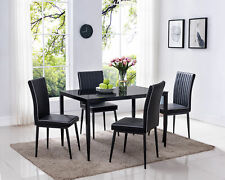 Kings Brand - PU Leather, Metal With Glass Dining Set, Table & 4 Chairs, Black