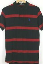 Polo Ralph Lauren Men's sz Medium Shirt Black Red Striped Mesh Short Sleeve