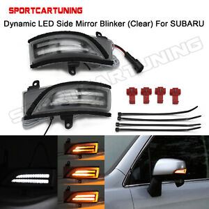 Amber/White Sequential LED Side Mirror Signal Lights For 2015-20 Subaru WRX STI
