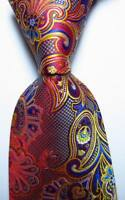 New Classic Paisley Red Blue Gold JACQUARD WOVEN 100% Silk Men's Tie Necktie