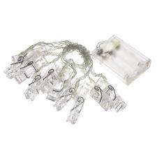 Christmas Plastic Clips String Lights, White, 10-LED, 12-Feet