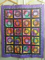 Contemporary Friendship Quilt Hand Silk Screened Squares Machine Pieced 51 x 43