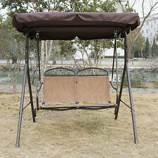 Patio Swing Chair 3 Person Outdoor Garden Hammock Canopy Awning Bench Brown