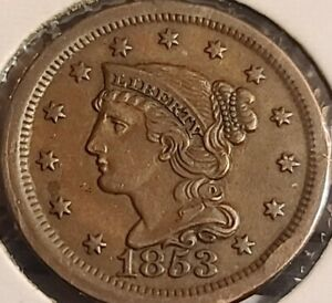 1853 Braided Hair Large Cent. High grade. A real beauty..