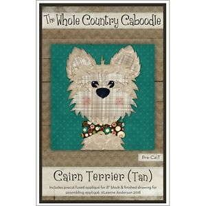 The Whole Country Caboodle Precut Fused Applique - Cairn Terrier (Tan)