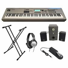 Yamaha MO8 88 Keyboard Bundle Double X Stand Headphones Sustain Pedal Speakers