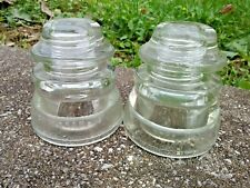 Antique Vintage Hemingray - 45 Clear Glass Insulators Lot of Two (2) 25-48 38-51