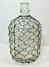 "Rustic Wire Wrapped Glass Vase Bottle Jug 10"" Farmhouse"