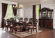 NEW Traditional Cherry Brown 9pcs Dining Room Set Rectangular Table & Chairs C5U