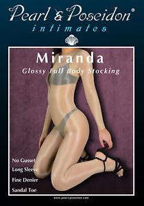 Miranda - glossy long sleeve body stocking pantyhose shiny with slick hand feel