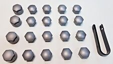 Genuine Audi Full Wheel Nut Bolt Cap/Cover Set Original Grey/Silver With Puller