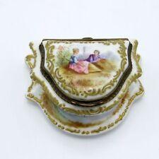 Antique German Porcelain Ladies Vanity Box with Bronze Mounts, Romantic Scene NR