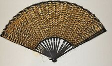 c. 1890's Victorian Gold Silk Ribbon Hand Fan w Painted Frame
