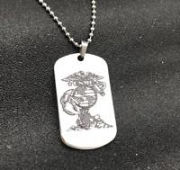 United States Marine Corp USMC Double Sided Psalm 23:4 Dog Tag Necklace