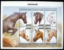 1999 MNH GUINEA HORSE STAMPS SHEET 6 EQUESTRIAN APPALOOSA MUSTANG ARABIAN SHIRE