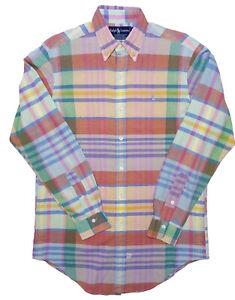 Vintage POLO RALPH LAUREN Long Sleeve Button Shirt Pink Plaid Madras Small S