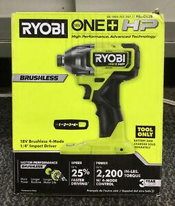 "Ryobi PBLID02B 18V Brushless 4 Mode 1/4"" Impact Driver NEW"