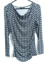 Adrianna Papell Womens Size Small Stretch Black White Long Sleeve Shirt Top
