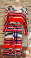 PAPAYA COLD SHOULDER BELTED STRIPED MULTI COLOUR SHIFT SUMMER TUNIC DRESS 14 L