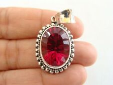Red Topaz Solitaire Bead Edged 925 Sterling Silver Pendant
