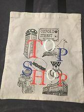 Topshop Grey Canvas Tote Shoulder Bag With Black Handles Oxford Street Graphics