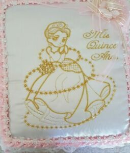 Mis Quince Anos Thick Padded Photo Album Pink/White and Gold Embroidery