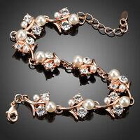 Rose Gold Plated Bracelet Clear CZ White Pearl Bridal Flower Fashion Bracelet