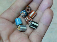"(iL008b) Tibet:  lot of 7  Vintage ""Chevron"" trade Beads"