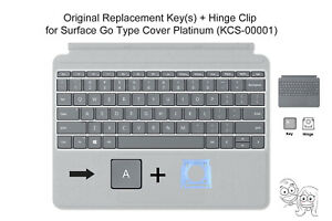 Microsoft Surface GO Type Cover OEM REPLACEMENT Key(s) + Hinge Clip(s) PLATINUM