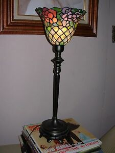 Stained Glass Garden Style Torchiere Buffet Lamp/ 1 Pair