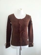 Odd Molly size 1 brown lambswool & nylon long sleeve cardi with decorative trim