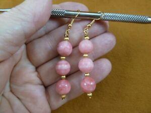 ee490-1 triple bead 10mm Pink Rhodochrosite gemstone + gold tone dangle earrings