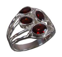 Handmade 925 Solid Sterling Silver Ring Natural Garnet Stone US Size 6.75 R874