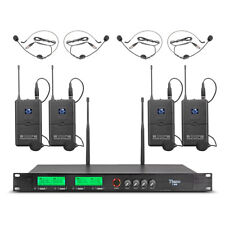 Uhfwireless Microphone System Pro Audio 4 Channel 4 Lavalier Bodypacks Headsets