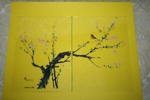 Vtg 2 Glass Card Panels Signed TYRUS WONG 1975 DANALCO Bird TREE Scene Disney