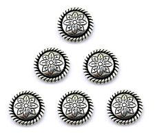 """CONCHOS LOT OF 6 ANTIQUE SILVER ROUND ROPE EDGE FLORAL WESTERN RODEO LEATHER 1"""""""