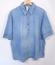Orvis Tunic Pullover Blouse Top XL 20 22 Chambray Blue Oversized Shirt Summer