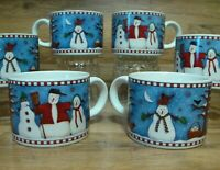 SET OF 6 - SAKURA - DEBBIE MUMM - HOLIDAY SNOWMAN COFFEE TEA CUPS / MUGS