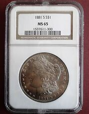 1881-S MORGAN GEM UNCIRCULATED SILVER DOLLAR- NGC GRADED MS-65 FREE SHIPPING!!