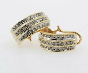 14K Yellow Gold Huggie Earrings with Genuine Diamonds