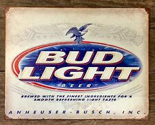 BUD-LIGHT BEER Budweiser Vintage Tin Metal Sign