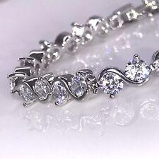 925 Sterling Silver Finish S Design Tennis Bracelet Cubic Zirconia CZ