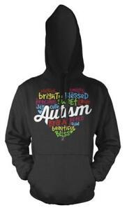 Love Heart Word Cloud Autism Rainbow Kids Hoodie